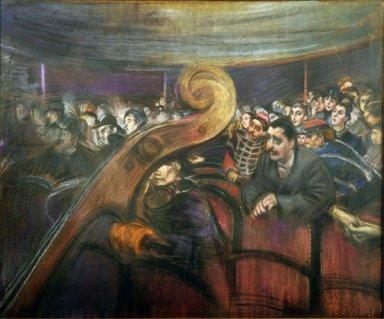 Giovanni Boldini, A teatro, Pastello su carta, cm 36,5x50, Collezione privata