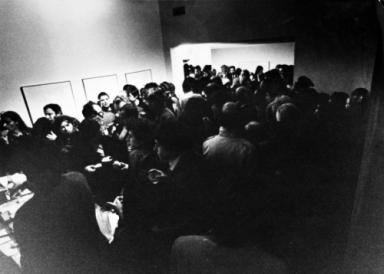 Studio Marconi, 1967, inaugurazione Emilio Tadini, Vita di Voltaire (photograph Enrico Cattaneo)