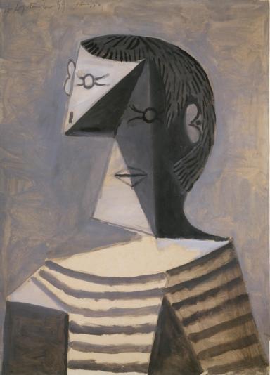 Pablo Picasso Busto di uomo in maglia a righe (Buste d'homme en tricot rayé), 14 settembre 1939 Guazzo su carta, 63,1 x 45,6 cm