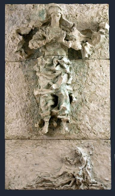 Lucio Fontana, Pala della Vergine Assunta, 1955, bozzetto al vero, gesso, 235 x 180 x 50 cm, provenienza: Milano, Veneranda Fabbrica del Duomo