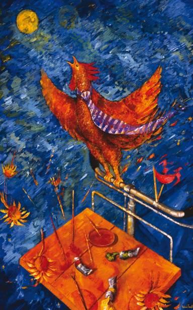 Antonio Tonelli, Il canto del gallo e dei colori - 2003 - acrilico su masonite, cm 125 x 84