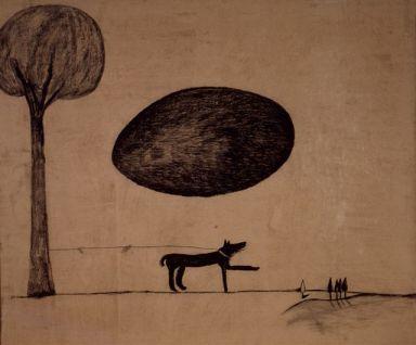 Enzo Cucchi, A terra d'uomo, 1980, lapis su carta intelata, cm 180 x 210 - CLIC X INGRANDIRE