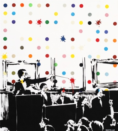 Farhan Siki, Poisonous Dot, 2011, vernice spray su tela, cm 135x122 - clic per ingranfire