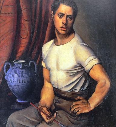 Achille Funi, Autoritratto con brocca blu, 1920, olio su tavola, cm 39,5x36,5 - CLIC X INGRANDIRE