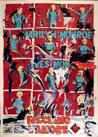 Mimmo Rotella, Facciamo l'amore,1962-1998, décollage,cm 142 x 196