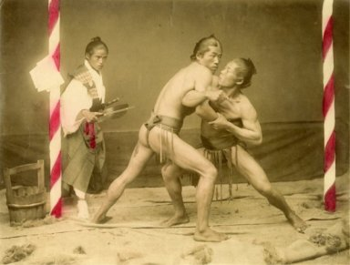 Raimund von Stillfried-Ratenitz. Lottatori di Sumo ed arbitro. 1872