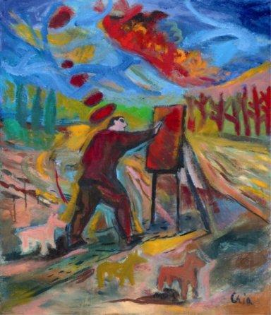 Sandro Chia, Pittore, 2009-2011, olio su tela, Collezione privata