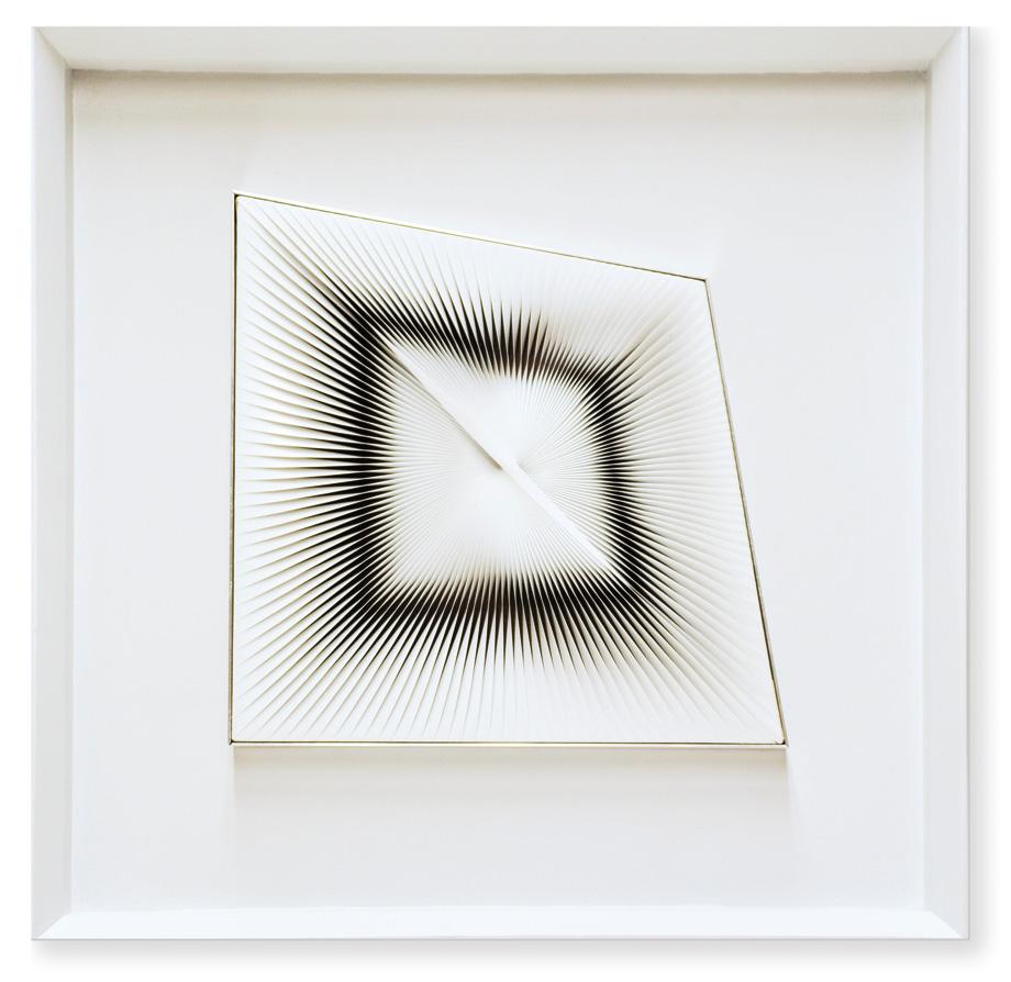 Alberto Biasi, Distorsione, 1976, rilievo in pvc su tavola, 26x26 cm, collezione Archivio Biasi,
