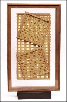 Alberto Biasi, Trame, 1959, collage, 60x36x3cm, coll. Archivio Biasi, Padova