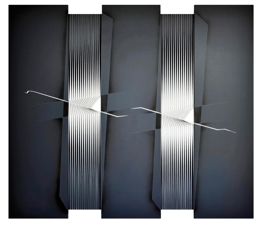 Alberto Biasi, Trittico...tratti bianchi, 2003, acrilico su tela in rilievo, 180x205x5 cm, coll.
