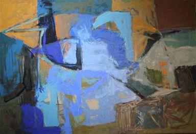 Bruno Pedrosa, Tuffarsi ma nel profondo, dove il mare è  mare, 2011, olio su tela, cm 100 x 150