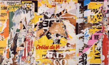 Jacques Villeglé, Issy Les Moulinaux,1991, Affiches Lacérées marouflées su tela, cm 114 x 195