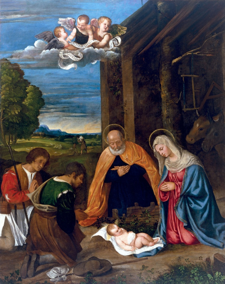 Tiziano Vecellio, Adorazione dei pastori,olio su tela, 1510-11, Houston, Museum of Fine Arts, Kress Collection