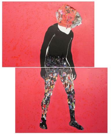 Vitshois M. Bondo, acrilico e collage su tela, dittico, cm 200x150