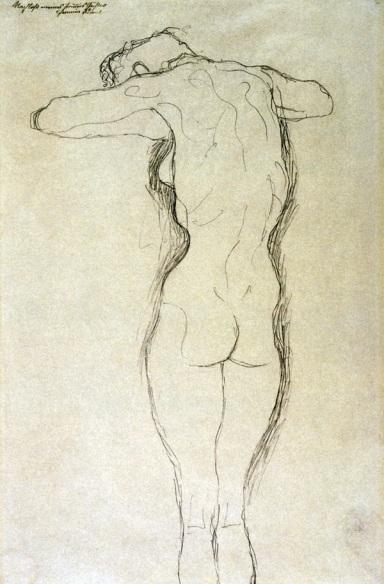 Gustav Klimt, Nudo di donna in piedi vista di schiena, le braccia flesse orizzontalmente, 1917-1918 matita, Collezione privata