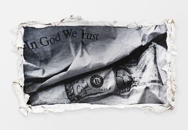 Gianluigi Colin, Mercurio/In God We Trust, 2008-­‐2011 stampa con pigmenti naturali su carta da quotidiano 175 x 290 cm