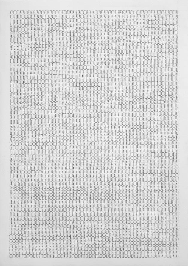 Dadamaino, gli anni '70, Galleria Cortina, Alfabeto della mente_lettera 7_1978_china su tela_48x34