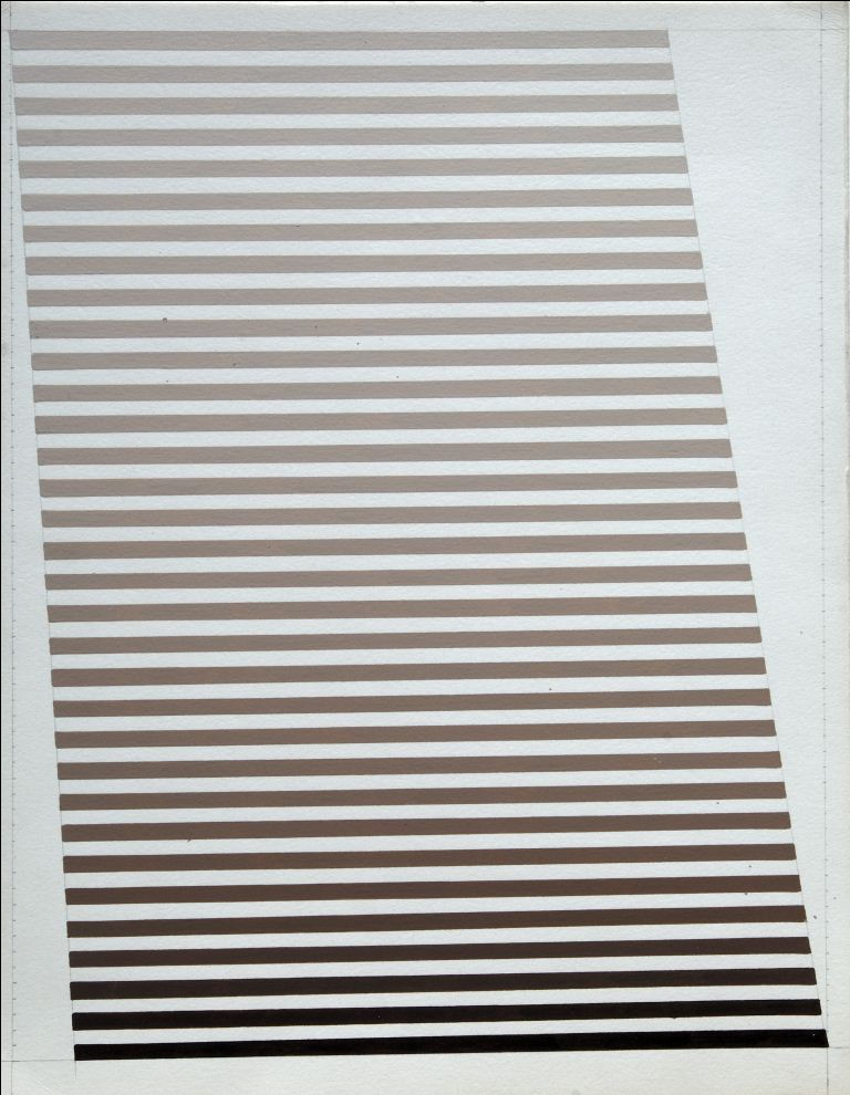 Dadamaino, gli anni '70, Galleria Cortina, Deformazione spaziale_1975_cm34,9x27,3_tempera su cartoncino