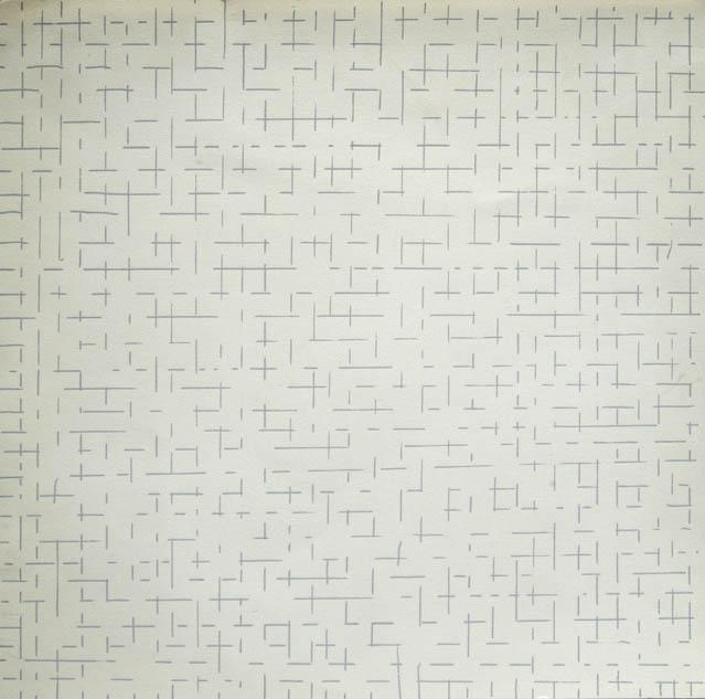 Dadamaino, gli anni '70, Galleria Cortina, Inconscio razionale_1975_tempera su cartoncino_32x32