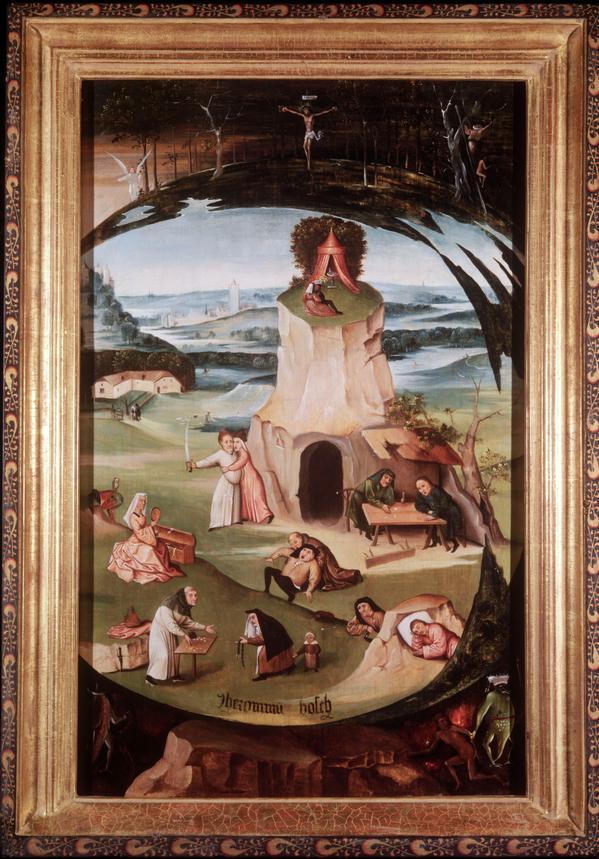 Hieronymus Bosch, I sette peccati capitali, olio su tavola, 86,5x56 cm, a Villa Olmo