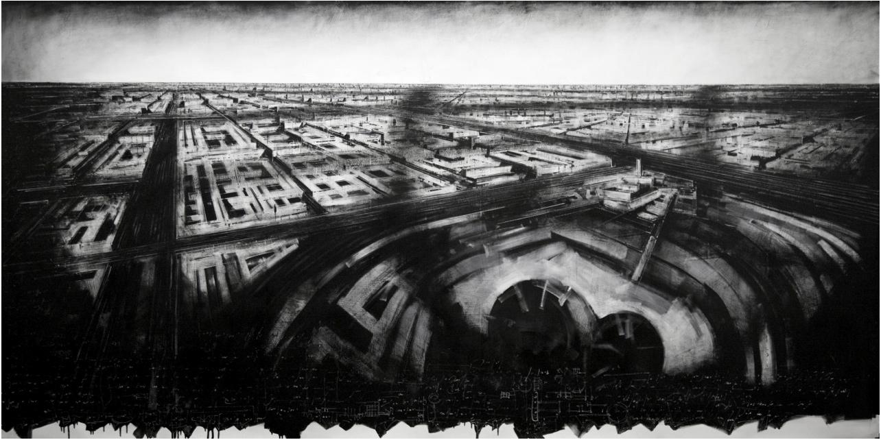 Jonathan Guaitamacchi, BRITISH BLACK ROUND VISION - MILANO 2012 CM 150 X 300