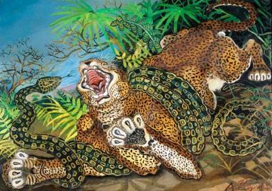 Ligabue, leopardo assalito da un serpente