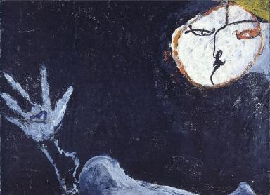 OSVALDO LICINI, Amalasunta su fondo nero, Olio su tela, 20,6x28,1 cm, 1950, Collezione privata