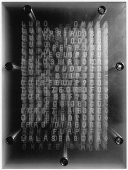 Apocalisse, 1970, perspex pantografato, sigilli in ceralacca, 60 x 34,5 x 6,5 cm, Archivio Vincenzo Agnetti, Milano - arte e cultura