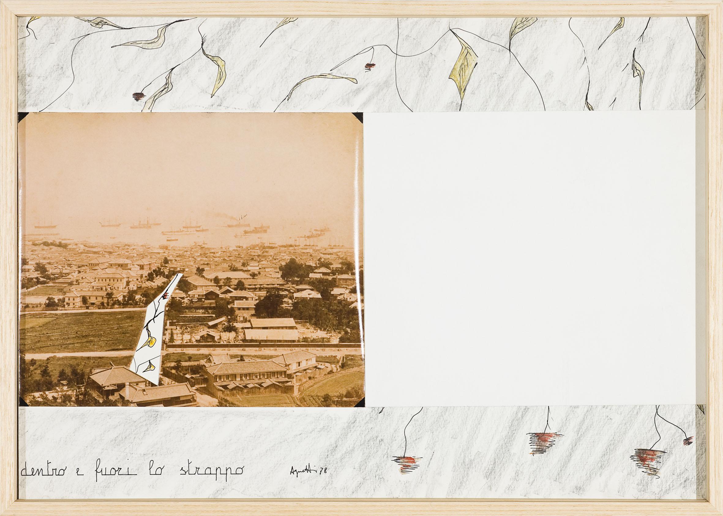 Dentro e fuori lo strappo, 1978, fotografia e tecnica mista su carta, 44,5 x 63,5 cm, courtesy Galleria Milano, Milano