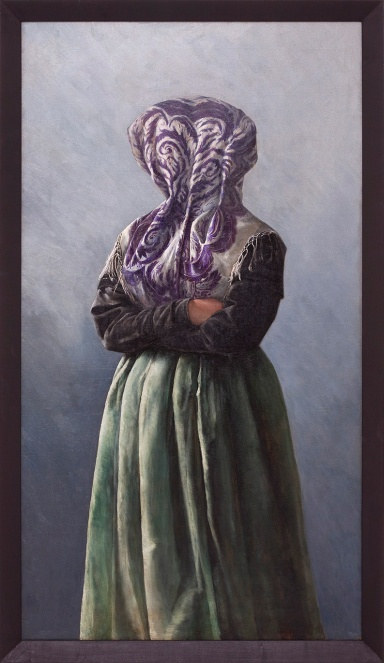 Markus Schinwald, Beth, 2012, Oil on canvas, 152,7 x 88 cm 145 x 80,6, galleria Giò Marconi, Milano arte expo