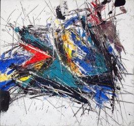 Sandro Martini, Risonanze Quantità Ganabana, 2011, affresco su pannello cm 90,5x86, Galleria Blu Milano arte e cultura