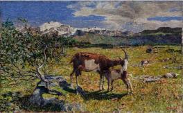Giovanni Segantini, Alpe di Maggio, Olio su tela, 54,5 x 86,5 cm, Collezione privata, GAM Manzoni Milano arte