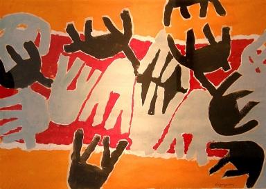 Giuseppe Capogrossi, Senza titolo, 1959, tempera su carta, cm. 35x49.5, Galleria Bonioni Arte, Milano expo mostre