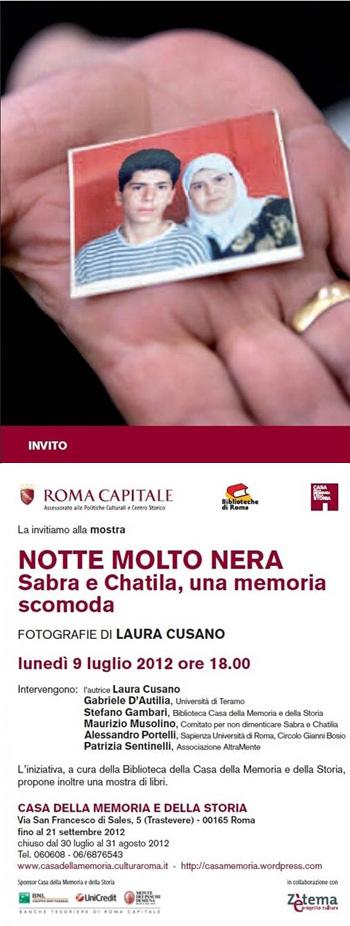 SABRA E CHATILA, UNA MEMORIA SCOMODA, FOTOGRAFIE DI LAURA CUSANO, Casa della Memoria e della Storia di Roma, Milano Arte Expo