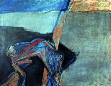 Attilio Forgioli, Cane sull'autostrada, 1962,olio su tela, 150x190 cm, Milano Arte Expo mostre e gallerie