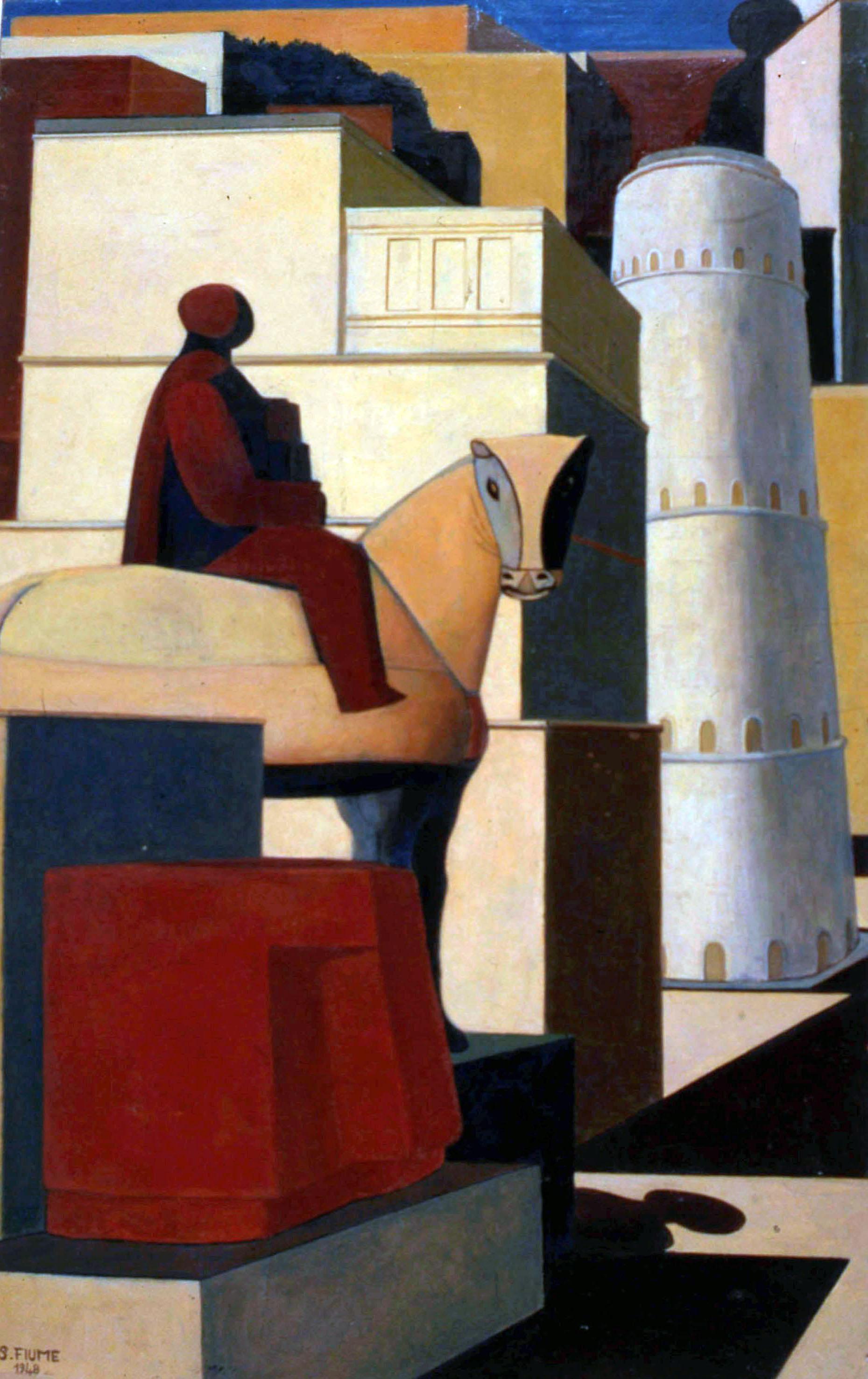 LE IDENTITÀ DI SALVATORE FIUME, Salvatore Fiume, Via Dino Buzzati, 1948, olio su tela, cm 76x48, Milano arte