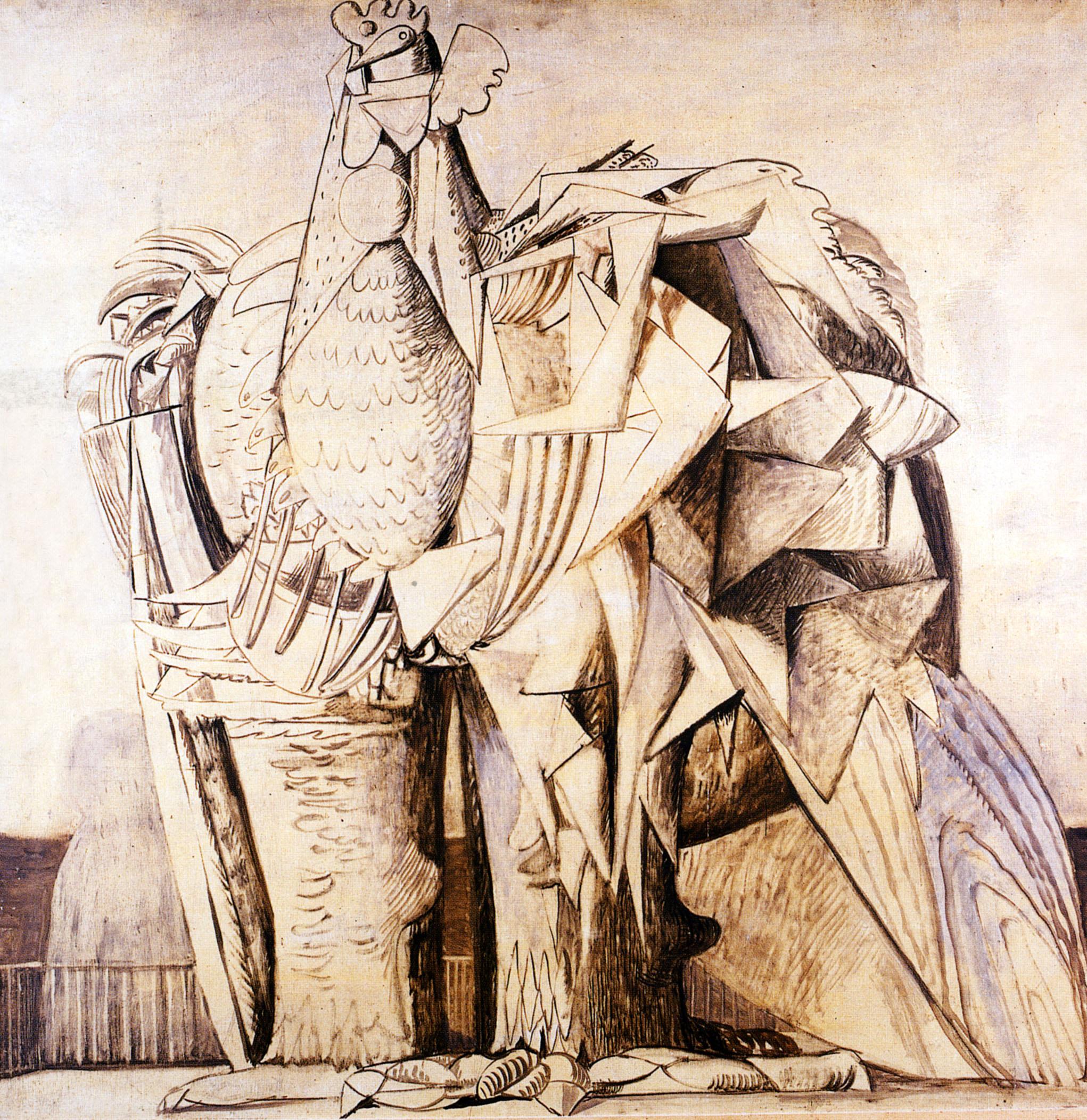 mostre a Milano, Salvatore Fiume, Gallo di ferro, 1958, olio su tela, cm 119 x 121