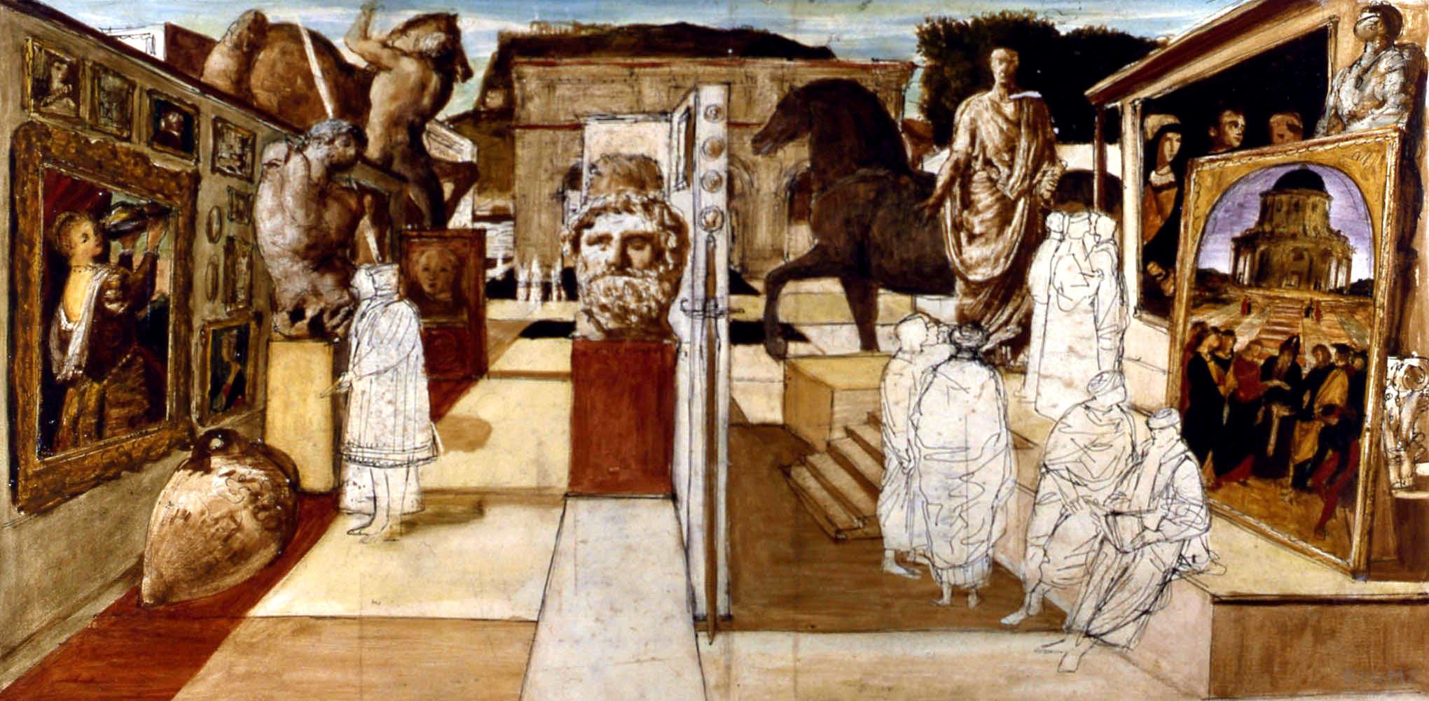 Salvatore Fiume, Bozzetto Andrea Doria, 1952, olio su carta, cm 43x88