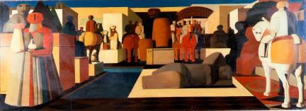 Salvatore Fiume, Città di statue, 1948, olio su tela, cm 76x208, milano arte expo e mostre