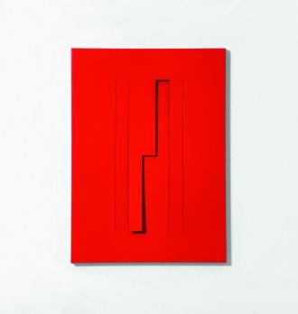 Grazia Varisco, Risonanza al tocco, 2010,Alluminio verniciato rosso, 48 x 35 cm