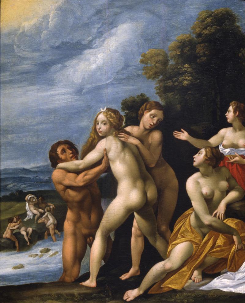 Milano Arte, Cavalier d'Arpino, Diana e le ninfe trasportate da uomini nudi attraverso un torrente, olio su tavola, 55,5×45