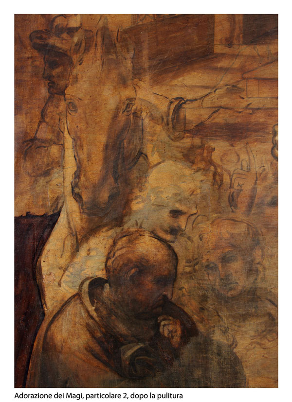 Adorazione dei Magi Leonardo da Vinci, particolare 2 dopo la pulitura