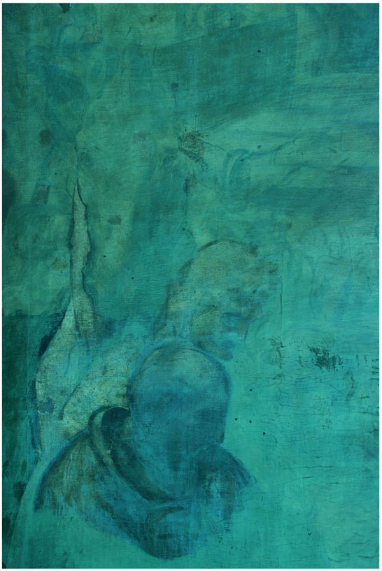 Adorazione dei Magi Leonardo da Vinci, particolare 2 in UV dopo la pulitura