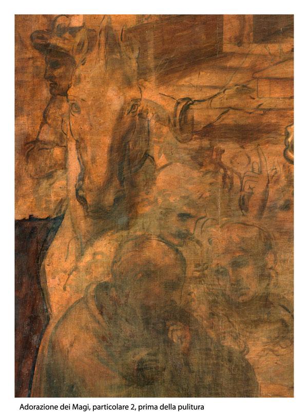 Adorazione dei Magi Leonardo da Vinci, particolare 2 prima della pulitura