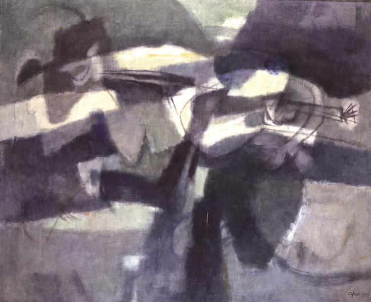 AFRO Museo Bilotti Roma - La Caccia Subacquea, Tecnica Mista, Tela, cm 143,5X176,6, Collezione Privata, 1955