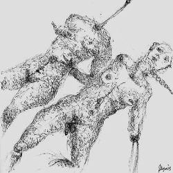 Francesca Magro, Eccoli Adamo ed Eva, 2009, inchiostro su carta, cm. 15x1
