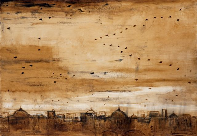 Galleria Mucciaccia Roma, Piero Pizzi Cannella, Veduta, 2012, tecnica mista su tela, cm 70 x 100