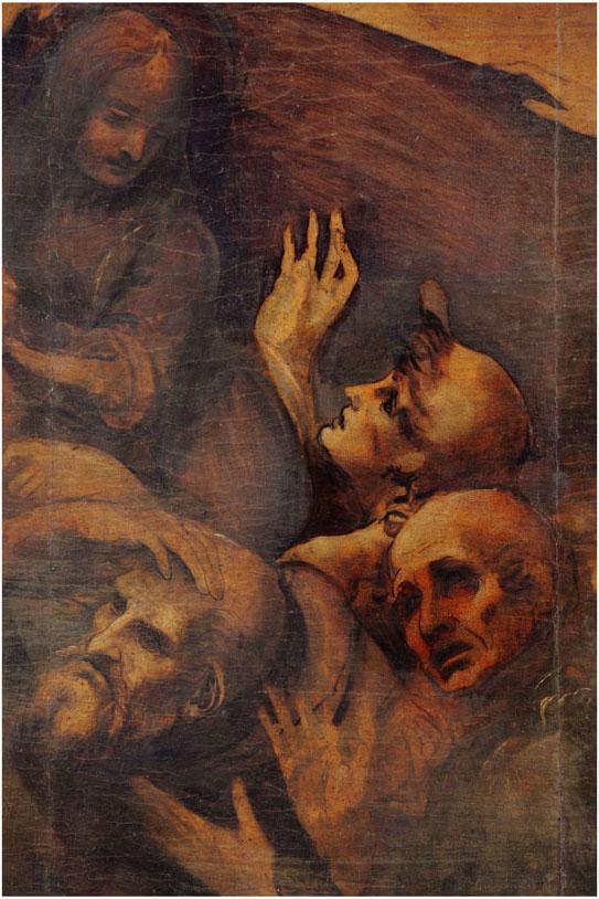 Leonardo da Vinci Adorazione dei Magi, particolare 1 dopo la pulitura