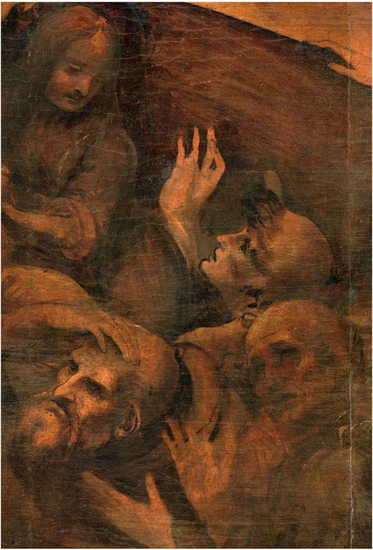Leonardo da Vinci Adorazione dei Magi, particolare 1 prima della pulitura