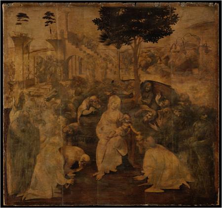 Leonardo da Vinci Adorazione dei Magi, prima del restauro